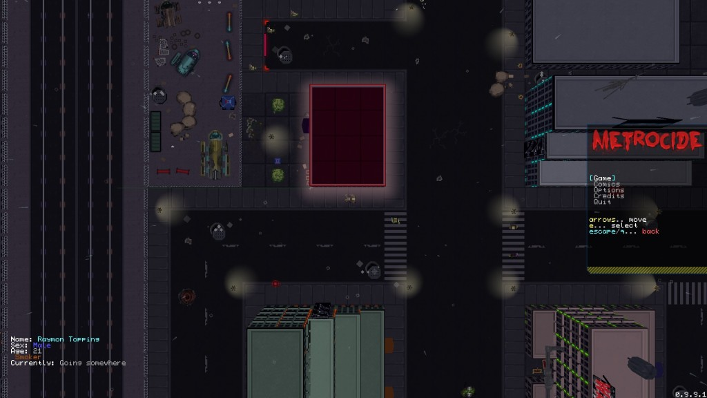 Metrocide menu screenshot