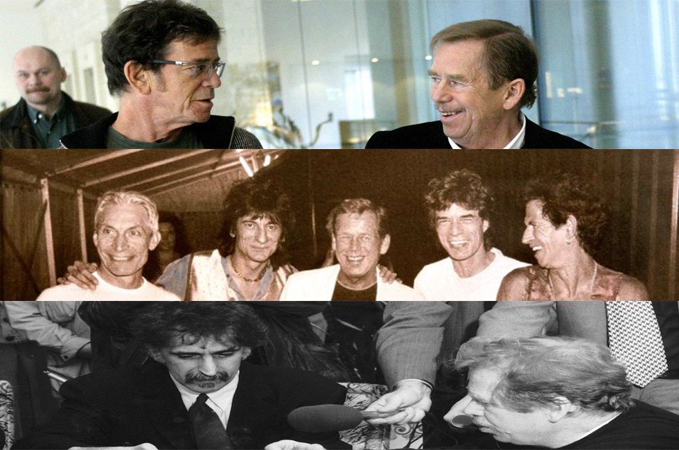 Havel meeting with famous friends Lou Reed (top), the Rolling Stones (center), and Frank Zappa (bottom).
