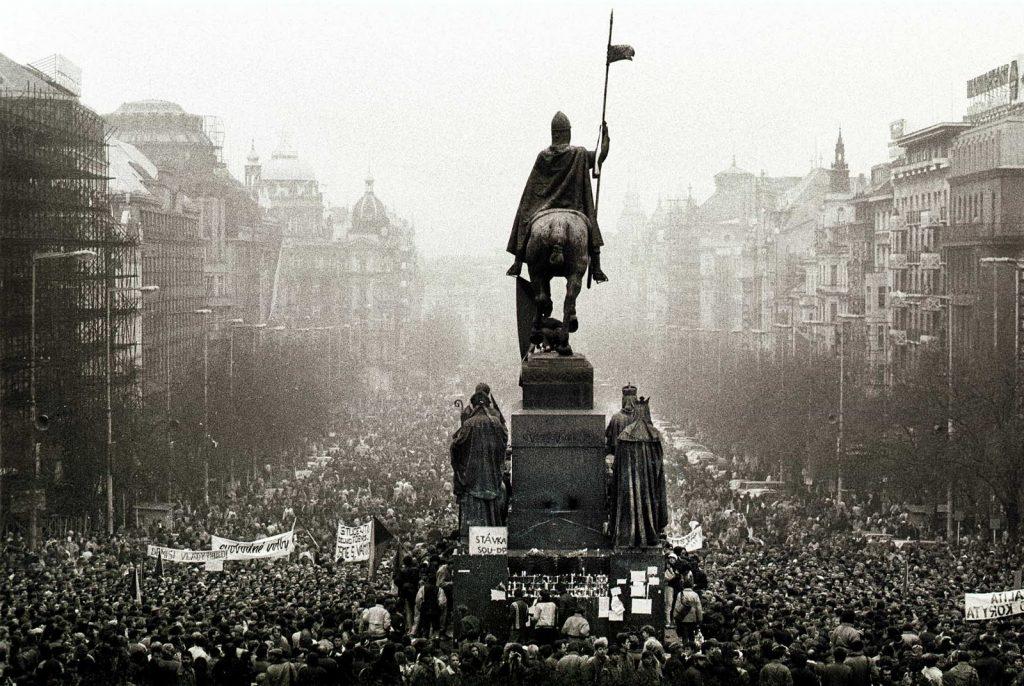 Wencelas Square during the Velvet Revolution