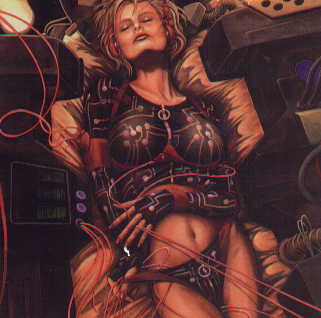 Netrunner from the cover of Cyberpunk 2020's Chromebook 3