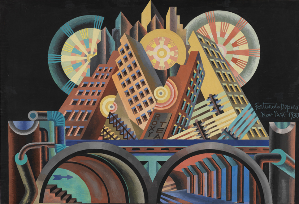 """Skyscrapers and Tunnels"", by Fortunato Depero"