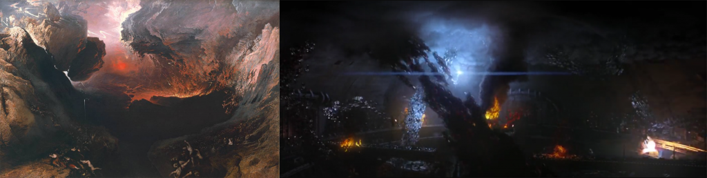 """Protestant mysticism and the art of Apocalyptic landscape: """"The Great Day of His Wrath"""" by British romantic painter John Martin, c1853 (left) and the Battle for Zion (right)."""