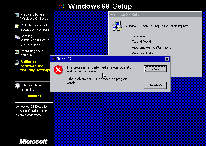The Peak of Human Civilization: in 1999, we were running Windows 98 - or trying to.